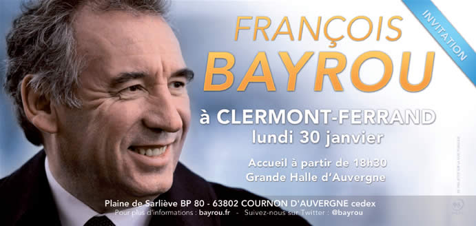 Invitation Bayrou Clermont-Ferrand